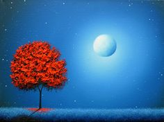 Red Tree Art Print, Blue Night Modern Art, Tree at Night, Full Moon Dreamscape, Contemporary Landscape Print, Red and Blue Art Giclee Print by BingArt on Etsy