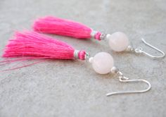 Super girly and feminine candy pink tassel earrings.   This is a unique and cute design! I have used Indian silky tassels with pale pink rose quartz, freshwater seed pearls and tiny, sparkly mystic labradorite for this pretty style. #Candy #Chinoiserie  #Pink #tassel #earrings #Rose by ThePillowBook, $32.00 #asian #teen #teenage