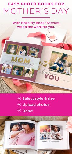 Not sure what to gift for Mother's Day? Let our Shutterfly designers create a photo book for you. Just select the style, upload your favorite photos, and review!   Shutterfly