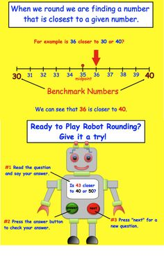 "Teach rounding with this interactive and fun ""Rounding Robot Game"". Click for preview."