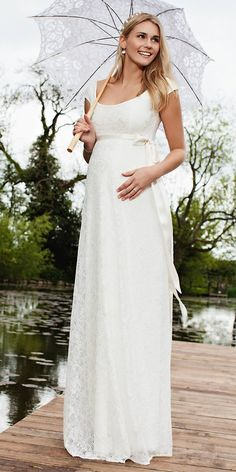 Maternity Wedding Dresses For Moms-To-Be ❤ See more: http://www.weddingforward.com/maternity-wedding-dresses/ #weddingforward #bride #bridal #wedding