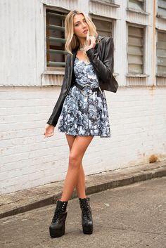 Snakes In A Garden Scoop Skater Dress - LIMITED – Black Milk Clothing