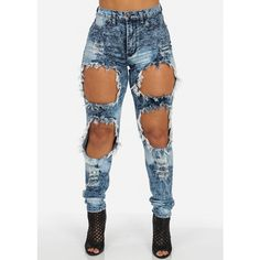 Sexy High Waisted Jeans with Big Rips ($50) ❤ liked on Polyvore featuring jeans, bottoms, pants, highwaisted jeans, high waisted destroyed jeans, distressed jeans, distressing jeans and sexy torn jeans