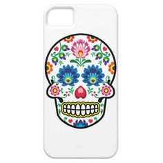 Fusion of a tradition Mexican sugar skull with a traditional Polish folk art floral design by RedKoala