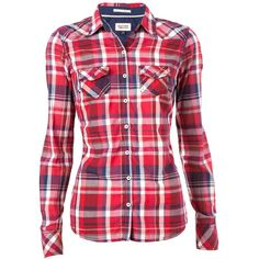 Tommy Hilfiger Forest flannel shirt (€49) ❤ liked on Polyvore featuring tops, shirts, long sleeves, blusas, red, snap shirt, collared shirt, red collar shirt, shirts & tops and red top