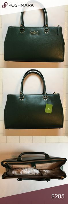 """NWT Kate Spade Wellesley Martine Bag! ♠️ NWT Kate Spade Wellesley Martine bag!  Color is Nightfores, a beautiful, rich green. Gold accents. Please ask any questions!  Website description:              Size  ♠️ 9.2""""h x 15.6""""w x 5.5""""d ♠️drop length: 8""""  Material  ♠️boarskin embossed cowhide leather with matching trim ♠️capital kate jacquard lining  Details ♠️over the shoulder with snap closure  ♠️2 side zip compartments  ♠️double side pockets, interior zip; snaps at sides to adjust gussets…"""