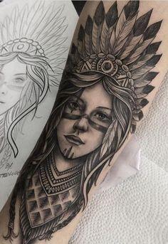 Indian Girl Tattoos, Indian Skull Tattoos, Native American Tattoos, Native Tattoos, Forarm Tattoos, Leg Tattoos, Girls With Sleeve Tattoos, Tattoos For Guys, Skull Tattoo Design