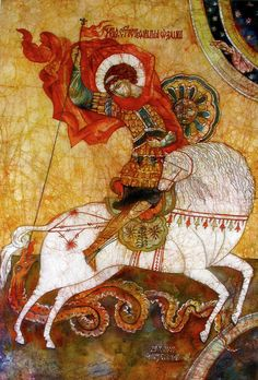 St George icon, by Tanya Ilyakhova. Medieval Art, Renaissance Art, Saint George And The Dragon, Dragon Icon, Russian Icons, Jesus Art, Byzantine Icons, Art Icon, Orthodox Icons
