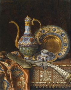 Max Schödl (1834-1921) — Still Life with Oriental Antiques, 1886  (810×1024)