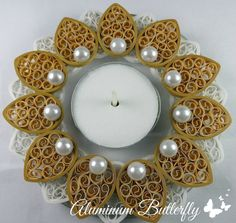 Quilled Candle Holder  Flower in Gold and Pearl by AluminumButterfly