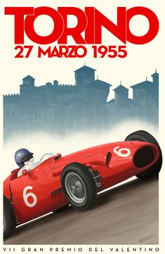BAPOM Poster 'torino55' - part of a collection of race posters for the game Grand Prix Legends. Higher res versions available on the website.  Gran Premio del Valentino | Torino 1955