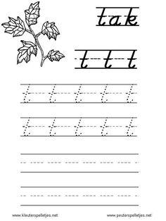 LETTER T | letters leren herkennen en schrijven, alfabet printbladen a t/m z