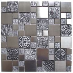 Roman Pattern Stainless Steel And Pewter Accents Metal Tile - Kitchen Backsplash/Bathroom Wall/Home Decor/Fireplace Surround Eclectic Tile, Eclectic Kitchen, Fireplace Wall, Fireplace Surrounds, Fireplace Kitchen, Fireplace Ideas, Mosaic Tiles, Wall Tiles, Glass Tiles