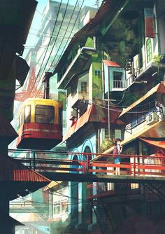 Cable car in town by ~FeiGiap on deviantART