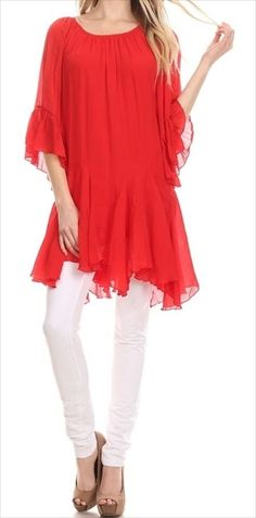 BOHO-HIPPIE PEASANT LOOSE FITTING TUNIC LONG TOP RED-CORAL PLUS SIZE 1X #SSC #Tunic