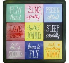 """Parrot's Advice for Good Living"" Nine-Tile Board from Birdbrain Gifts $29.95"
