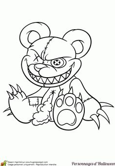 Coloring of a legendary Halloween figure, a stuffed teddy bear . Graffiti Art Drawings, Creepy Drawings, Dark Art Drawings, Tattoo Design Drawings, Graffiti Lettering, Art Drawings Sketches, Cartoon Drawings, Cartoon Art, How To Draw Graffiti