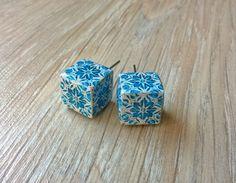 Portuguese majolica tiles replica cube stud earrings cube by XTory