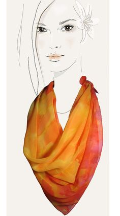 Sunburst  orange hand painted silk scarf by MuseSilkPaintings, $46.00