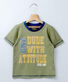 Loving this Dark Green 'Dude With Attitude' Tee - Boys on #zulily! #zulilyfinds