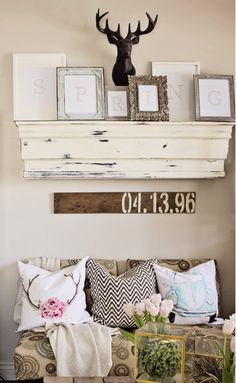 I love the reclaimed wood with what I assume is an anniversary date. Have to figure out how to incorporate this into our decor.