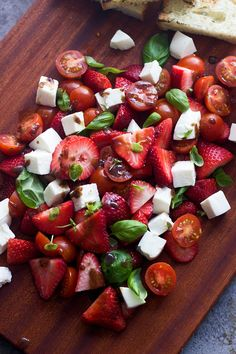 Strawberry Caprese Salad with Brown Butter Balsamic Vinaigre. - Strawberry Caprese Salad with Brown Butter Balsamic Vinaigrette by cookingforkeeps Healthy Recipes, Salad Recipes, Healthy Snacks, Healthy Eating, Cooking Recipes, Cooking Tips, I Love Food, Good Food, Yummy Food