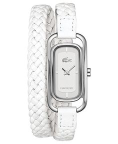 Lacoste Watch, Women's Sienna White Braided Leather Double-Wrap Strap
