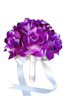 Color:. Purple, ivory Artificial Flower Bouquet Shades of purple and ivory open roses. Measurement: 8 x 8 x 8 Handle: ivory ribbon and bling. Ribbon color can be changed upon request.