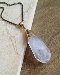 Faceted Chunky Crystal Point Necklace  by CombustionGlassworks