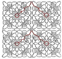 Crochet Motif Patterns, Granny Square Crochet Pattern, Crochet Diagram, Crochet Squares, Knitting Patterns, Crochet Blocks, Crochet Tablecloth, Crochet Doilies, Crochet Flowers