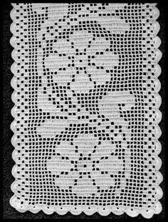 Camino de mesa Thread Crochet, Crochet Doilies, Crochet Flowers, Crochet Stitches, Crotchet Patterns, Christmas Crochet Patterns, Knitting Patterns, Crochet Carpet, Crochet Home