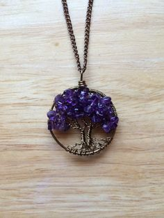 Twin Amethyst Tree Of Life Necklace Sweetheart Pendant Brown Chain Brown Wire Wrapped Tree Gemstone by Just4FunDesign on Etsy https://www.etsy.com/listing/219142009/twin-amethyst-tree-of-life-necklace