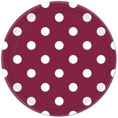 Burgundy Polka Dot Lunch Plates (8) Match with dessert plates in the same pattern, or mix with chevron and solids of the same color!