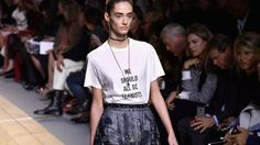 Spring 2017 Trends: Runway reality check.(Dior) Once upon a time the runways were about dressing up. But fashion brands have had to come down to earth to attract new customers raised on casual jeans, flannels and sneakers. Denim and t-shirts appeared on many runways this season, most notably at the vaunted French fashion house of Dior. Even eveningwear was toned down, with dressed up casual replacing glitzy gowns at Valentino, Prada and more. And the comfort shoe revolution continued with…