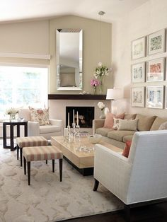 20+ Living Room Ideas {Part 2} - Rain on a Tin Roof-  I love the mixture of candles and all the glass!