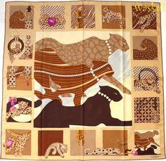 CARTIER Paris beige Patchwork of Jewels & LEOPARDS silk Twill scarf NEW Authentc #CARTIER #Scarf