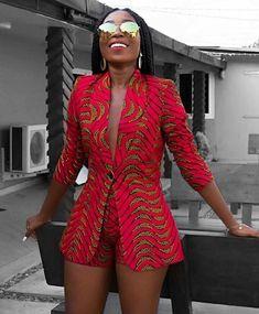 Afrikaanse print blazer jas met korte broek-Ankara print-Afrikaanse jurk-tweedelige outfit-hand gemaakt-Afrika kleding-Afrikaanse mode - Women's style: Patterns of sustainability African American Fashion, African Inspired Fashion, African Print Fashion, Africa Fashion, African Fashion Traditional, Look Fashion, Asian Fashion, Fashion Outfits, Fashion Ideas