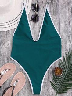 High Cut Piping Plunging Neck Swimwear - Blue Green M