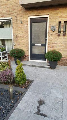mooie grote bolchrisanten bij de voordeur