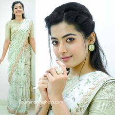 blouse designs Rashmika Mandanna attended an event wearing a pastel blue printed embroidered saree paired with a matching striped embroidered blouse by Shilpa Reddy. She accessorized wi Simple Sarees, Trendy Sarees, Stylish Sarees, Fancy Sarees, Simple Hairstyle For Saree, Indian Hairstyles For Saree, Saree Hairstyles, Fancy Blouse Designs, Blouse Neck Designs