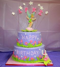 two tier buttercream cake | Tinkerbell 2 Tier Buttercream w/Fondant, Gumpaste Accents and Edible ...