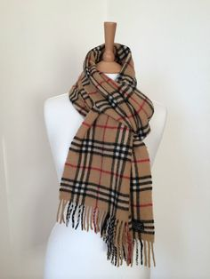 12a96b7220f Vintage Burberry check beige 100% lambswool neck scarf unisex Unisex  Clothes