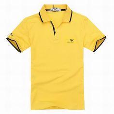 ralph lauren outlet online Armani Short Sleeve Men\u0026#39;s Polo Shirt Yellow http://www