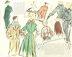 Modes & Travaux, Vintage French fashion magazine,  1954 fashion news