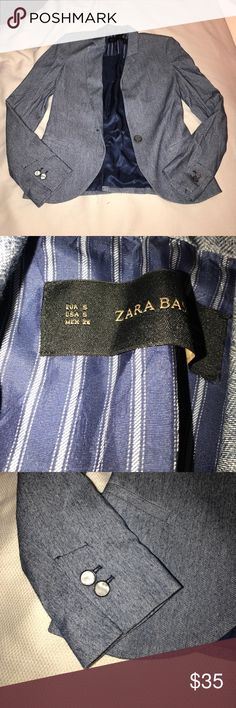 Zara Navy Blazer Only worn once to a job interview! This jacket is amazing! The shoulders have some light padding in them. The buttons are adorable!!! Zara Jackets & Coats Blazers