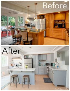 DIY Kitchen Renovation - Give your kitchen a full, beautiful, modern design makeover without doing a full gut job! Follow these budget tips to save money and end up with beautiful cabinets, counters, backsplash and more