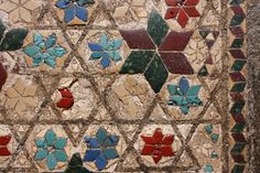 The Cosmati Pavement 1268, after restoration 2010: Wenlock tomb lid opaque glass diamonds