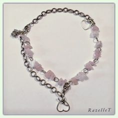 Rose quartz and chain necklace that can be worn in various ways by RazelleT Rose Quartz, Chain, Bracelets, Silver, How To Wear, Jewelry, Jewlery, Money, Bijoux