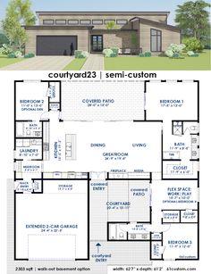courtyard23: Contemporary Semi-Custom House Plan | 61custom