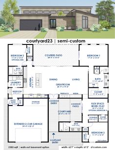 ideas about Contemporary House Plans on Pinterest   House    courtyard   Contemporary Semi Custom House Plan   custom